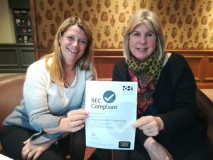 Clare and Anna of A1 Locums with their REC Compliance Certificate